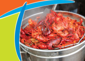 Crawfish boiling in a pot