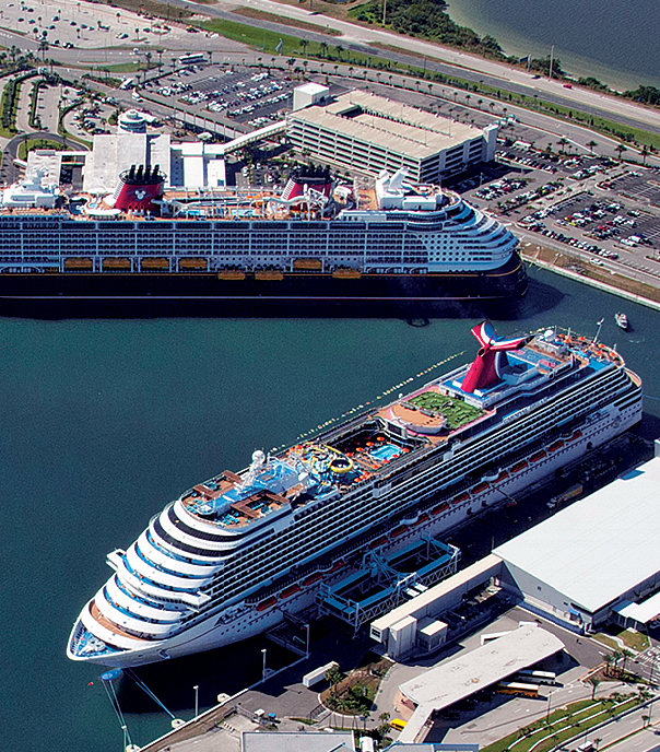 Aerial view of cruise ships docked at Port Canaveral