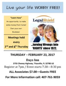 LegalShield Bi-monthly meetings