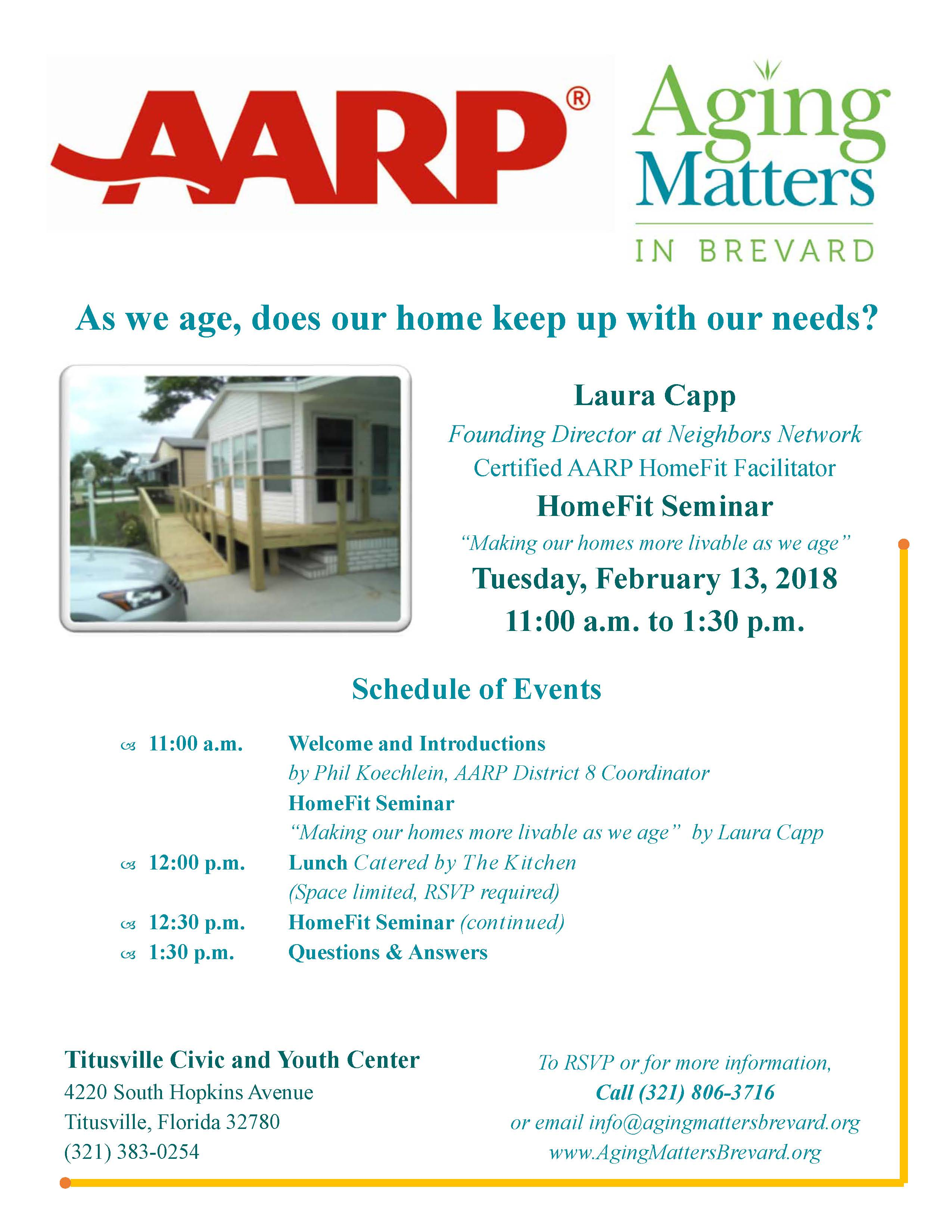Aarp Homefit Seminar And Lunch Titusville Fl Chamber Of