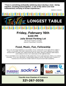 Titusville Florida Longest Table Community Event and 2018 Board Installation
