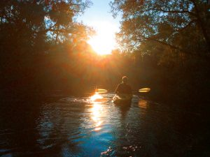Kayaker floating down river during sunset